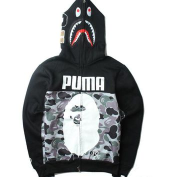ONETOW Gray BAPE & PUMA Print Long Sleeve Zipper Shark Hoodies Sweater Coat