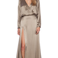 Mason by Michelle Mason Wrap Gown in Taupe