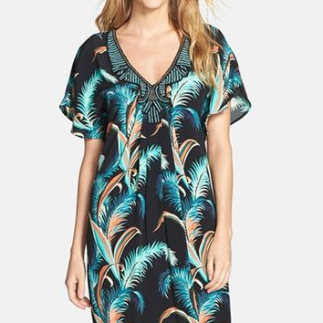 Women's Adrianna Papell Palm Print Crepe Shift Dress,