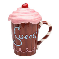 Cupcake Coffee Mug Ceramic Cup with Lid 10 oz.