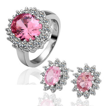 Pink Zircon Two-piece White Gold Jewelry Set