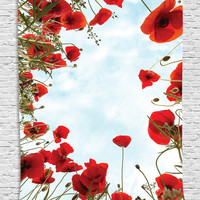 Poppies Skyline Silky Tapestry