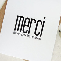 Merci card thank you many languages grazie tack danke gracias minimalist card