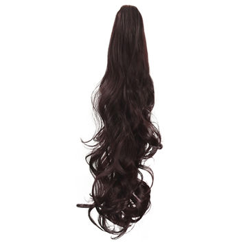 Claw Type Horsetail Long Curled Hair Wig     dark brown P006-2/33#