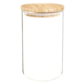 SCANDINAVIAN glass and bamboo jar H 17cm | Maisons du Monde