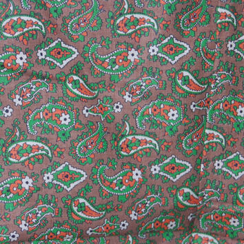 "Vintage Taupe Green and Orange Paisley Print Fabric 1-5/6 yds x 36"" wide"