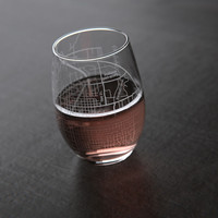 Bloomington, IN - Indiana University - College Town Maps Stemless Wine Glass