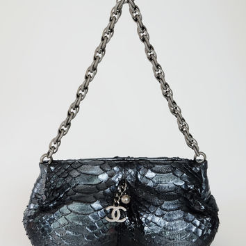 CHANEL Silver Chain Strap Pochette Metallic Blue Python Shoulder Bag Clutch