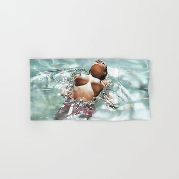 Sexy in Pool, erotic nude, hot brunette swimming in pool topless, kinky woman naked Hand & Bath Towel by Peter Reiss