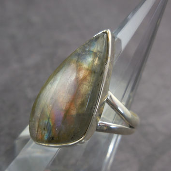 Labradorite Gemstone Sterling Silver Ring - Size 6.5