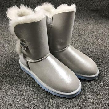 VON3TL Sale Ugg 1002174 W Irina Clouds Smoke White Classic Bailey Button Bling Boot Snow Boots