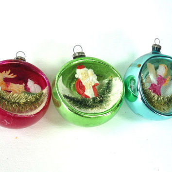 Mercury Glass Diorama Christmas Ornaments Set of 3 Brush Trees Red Blue Green Santa Reindeer Angel