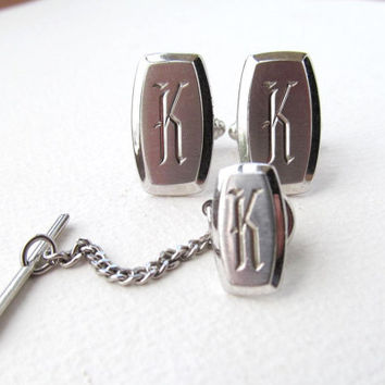 Hickok cufflinks and tie tack with Monogram K vintage
