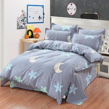 Modern Brief Stars Cartoon Bedding Set 4 pcs 100% Cotton for Children/Kids Queen king Size Bedroom Bed Linen Duvet Cover Sets