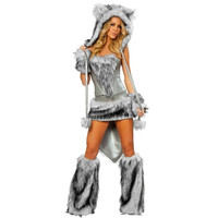 Adult Sexy Big Bad Furry Wolf Cosplay Costume Women's Animal Theme Halloween Fancy Dress fantasia disfraces adultos (Color: Grey) = 1932981508