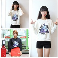 Online Shop New 2015 Fashion Full Sleeve O-neck Letter Space Galaxy Printed Pullovers Casual Tee Tops girl t shirt women Free Shipping 505|Aliexpress Mobile