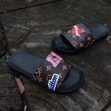 Custom Reworked Upcycled LV Louis Vuitton Patches Collection 2018 Slides - Sandals - Slippers