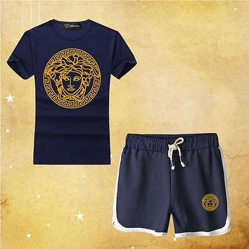 """Versace"" Print Short sleeve Top Shorts Pants Sweatpants"