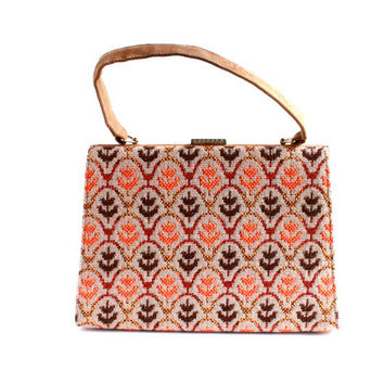 Vintage Suede & Wool Purse - 1960s Wales Kelly Style Floral Patterned Bag / Traditional Welsh