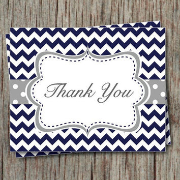 Thank You Cards Birthday Party Bridal Shower Baptism Baby Shower Thank You Notes Instant Download Navy Grey Chevron - 002