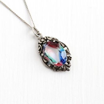 Vintage Art Deco 830 Silver Iris Glass Pendant Necklace - 1930s Oval Rainbow Glass White Green Pink Blue Stone Flower Dainty Charm Jewelry