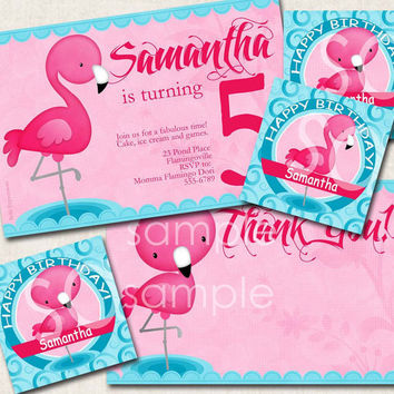 Flamingo Birthday Party Package invitation by missbellaexpressions