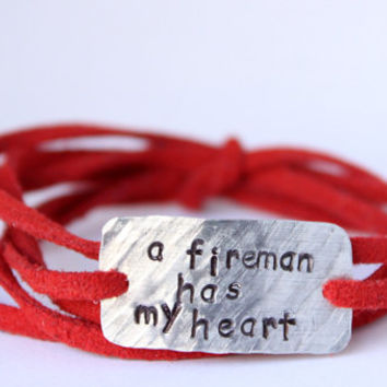 "police wife bracelet, firefighter wife bracelet, ""has my heart"" police jewelry, police girlfriend, wrap bracelet, handstamped"