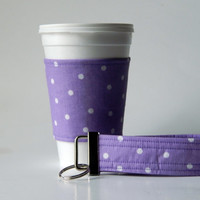 Purple and White Poke Dot Coffee Cup Sleeve Cozy and Wristlet Key Fob, keychain