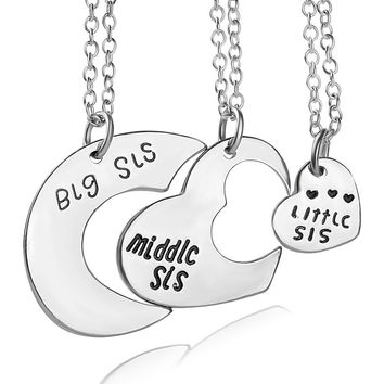 Best Friends necklace for 3 Big Sister Sis Middle Sister Sis Little Sister Sis Heart Charm Pendant Necklace Friendship Jewelry