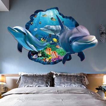 Streetstyle  Casual New Special Design 3d Effect Underwater World Dolphin Fish Background Wall Stickers Fashion Home Decoration ZHH1058/er (Color: Multicolor)