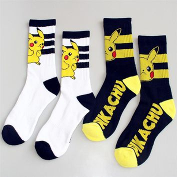 GO Knee-High Socks Women Cosplay Cotton Calf Socks Pikachu Socks Lady Antiskid Sports Casual Socks Black WhiteKawaii Pokemon go  AT_89_9