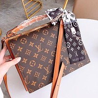 LV Louis Vuitton Fashion Women Leather Handbag Satchel Crossbody Shoulder Bag(Two Side Back)