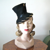 1930s-1940s hat / dramatic black miniature Top Hat with back strap and gold trim / tilt hat or topper