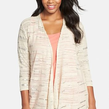 Plus Size Women's NIC+ZOE 'Sheer Winds' Metallic Streak Cardigan,