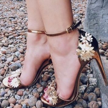 Hot style metallic handmade floral embellished high-heeled women's sandals