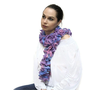 Summer scarf - scarflette -The Frou-Frou Lace Scarf - Hand Knit Ruffled Shawl - pink, violet, purple, blue by Solandia