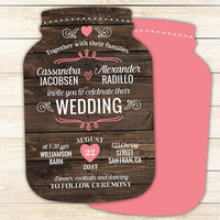 Rustic Wedding Invitations, Mason Jar shaped cards, Country Wedding -- 10 die cut printed cards in any color