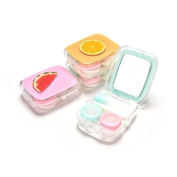 Fashion Fuirt Mini Container Holder With Mirror Tweezers Set Portable Square Contact Lens Storage Box Fruit Contact Lens Case