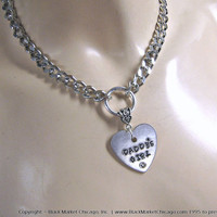 BDSM Day Collar DADDYS GIRL Engraved Necklace Stainless Steel Chain Swarovski Rhinestone with Heart Padlock Closure or Lobster Clasp