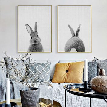 Kawaii Rabbit Tail Bunny Canvas Painting Nursery Wall Art Animal Poster Print Nordic Woodland Picture Baby Girls Room Home Decor