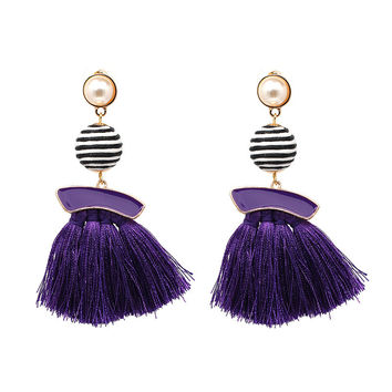 Pearl Stripe Thread Wrapped Ball Fringe Tassel Drop Earring