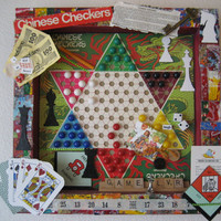 Game Shadowbox, Game Lover Collage, Game Pieces, Chess, Monopoly, Playing Cards, Chinese Checkers, Game Board, Game Room Decor, Colorful Art