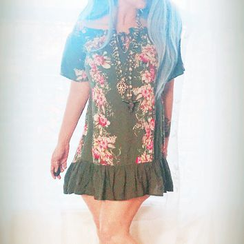 Army green festival tunic dress, boho chic tunic dress, True Rebel Clothing