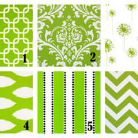 """Decorative Throw Pillow Covers 20 inch Lime Green and White Pillows Designer Fabric FRONT and BACK Mix & Match 20"""""""