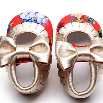 Tropical Flowers-Baby Mary Jane Moccs