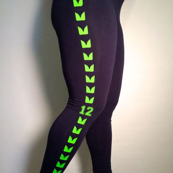 Seattle Seahawks Women's Navy Leggings - Ladies 12th Man Superbowl Pants - LARGE