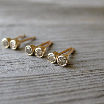 Small Champagne Diamond Stud Earrings in 14k Gold by kristincoffin