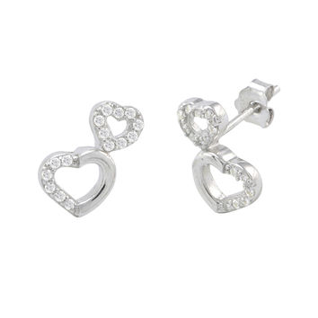 Sterling Silver Double Heart Outline Stud Earrings Micropave CZ 11mm x 7mm