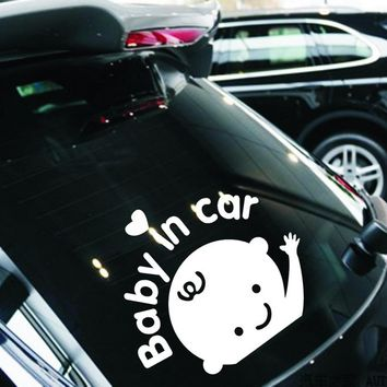 On Rear Windshield Baby in Car Decoration Auto Motorcycle Sticker Car Styling Reflective Car Stickers and Decals Silver