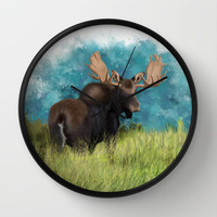 Moose  Wall Clock by North Star Artwork